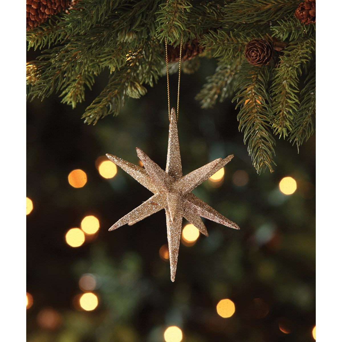 Old Gold Moravian Star Ornament