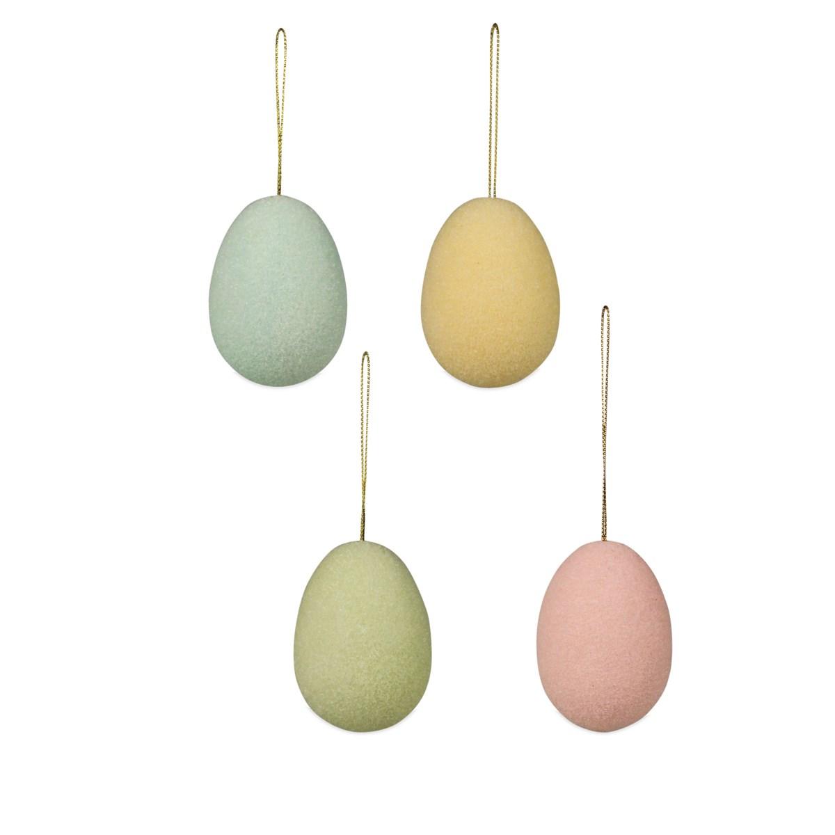 Pastel Flocked Egg Ornament Medium 4A