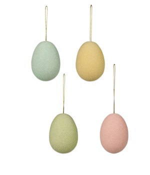 Pastel Flocked Egg Ornament Medium 4A