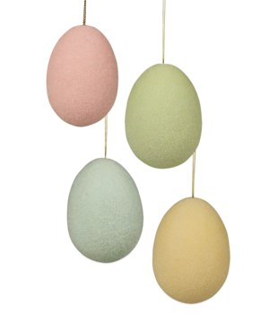 Pastel Flocked Egg Ornament Large 4A