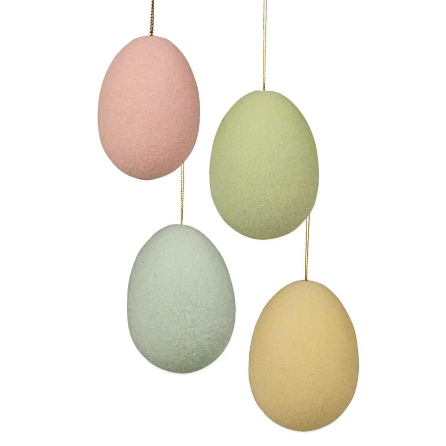 Pastel Flocked Egg Ornament Large 4A