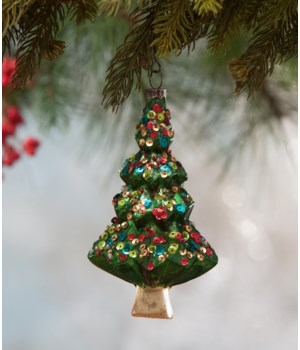 Sequined Glass Tree Ornament