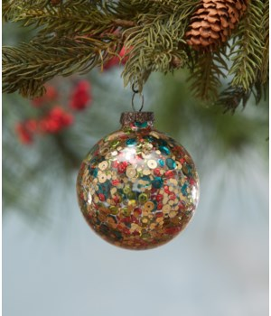 Sequined Globe Glass Ornament