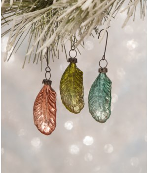 Pastel Mini Glass Feather Ornament 3/A