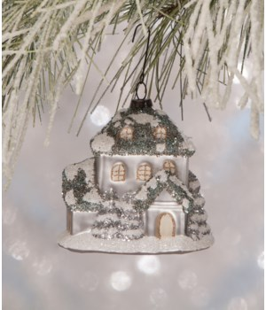 Pastel Blue Glass Cottage Ornament