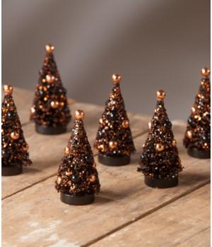 Magic Halloween Glitter Mini Trees S/6