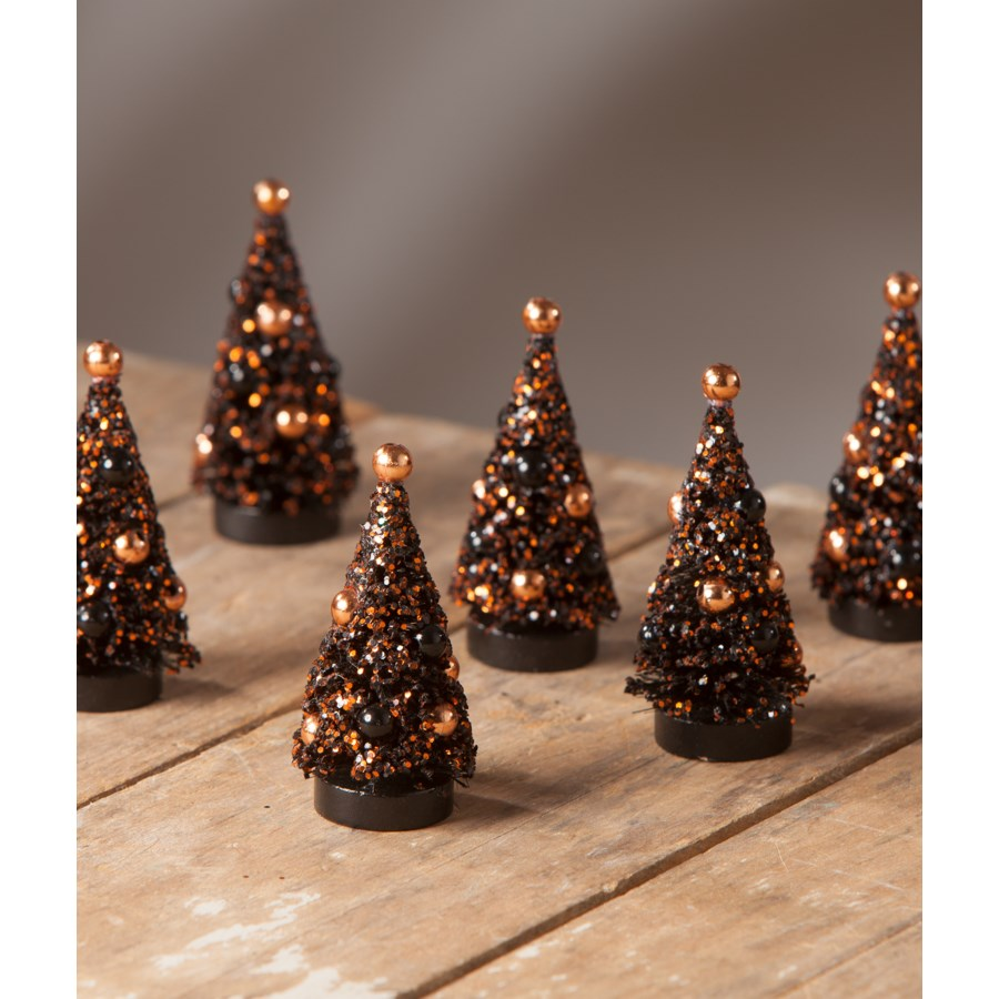 Magic Halloween Glitter Mini Trees S/6