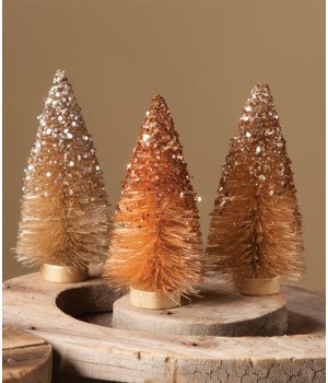 Fall Sparkle Bottle Brush Mini Tree S/3