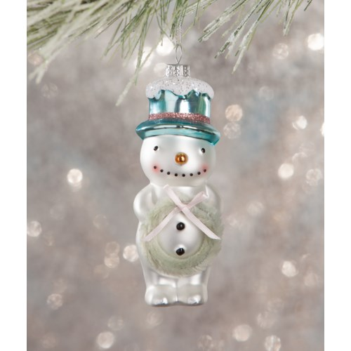 Flea Market Snowman With Wreath Ornament