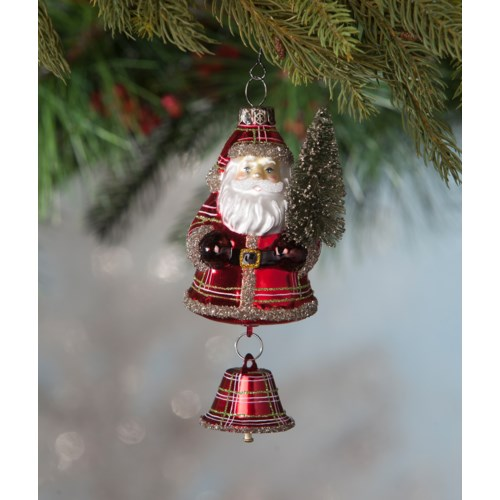 Plaid Santa With Bell Ornament