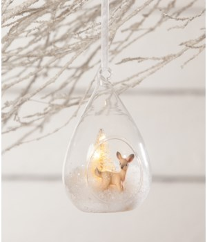 Winter Fawn Glass Light Up Ornament