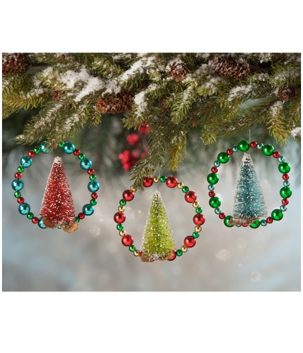 Beaded Wreath W Tree Ornament 3A