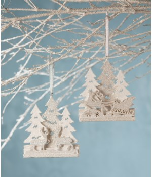 Platinum Winter Scene Ornament 2/A