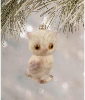 Flocked Glass Owl Ornament