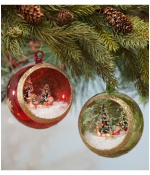 Santa's Visit Glass Indent Ornament 2/A