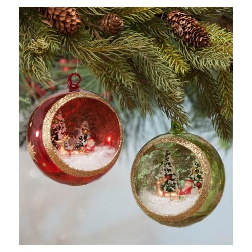 Santa's Visit Glass Indent Ornament 2/A