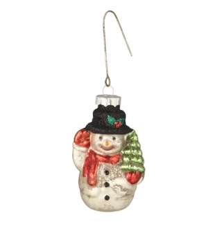 Merry Snowman With Tree Ornament