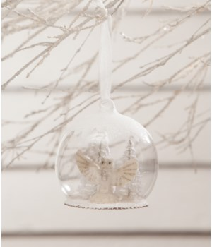 Winter White Owl in Globe Ornament
