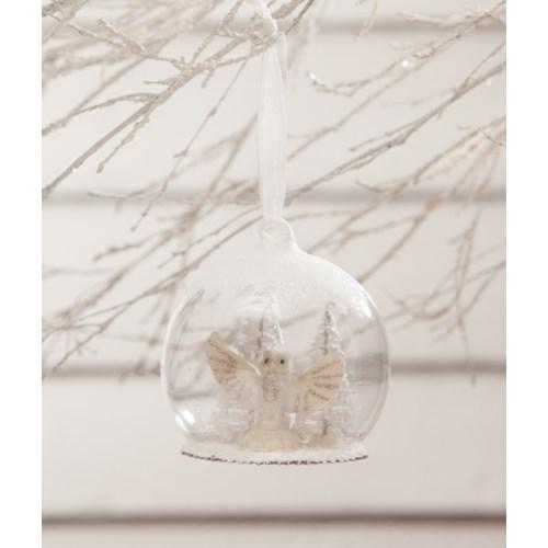 Winter White Owl in Globe Ornament