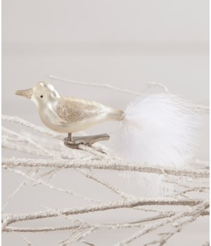 Winter White Glass Bird Clip Ornament