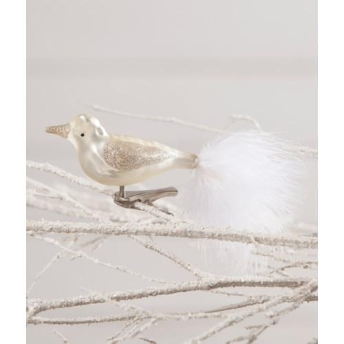 Winter White Glass Bird Clip Ornament