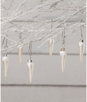 White Icicle Mini Ornament S/6
