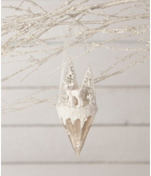 Winter Fawn Glass Cone Ornament