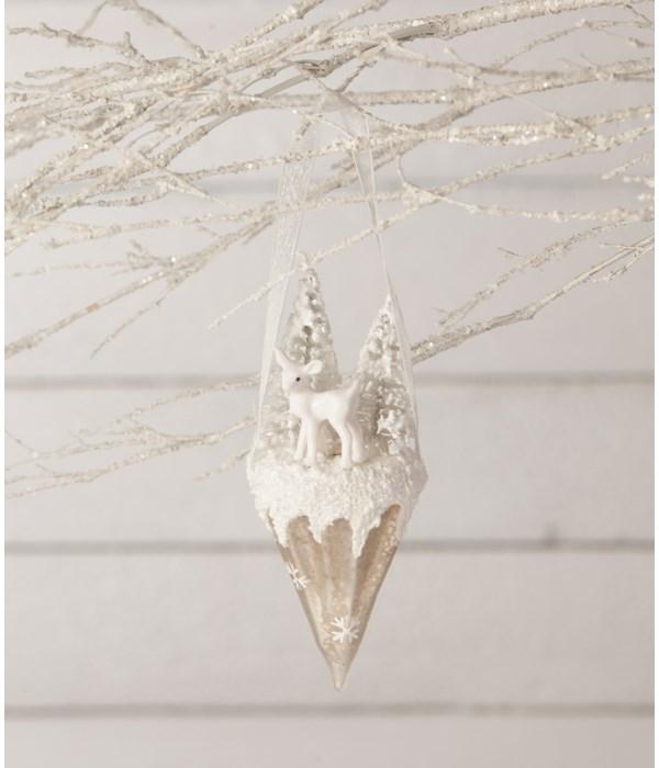 Winter Fawn Glass Cone Ornament