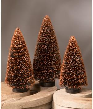 Black Bottle Brush Tree With Orange Glitter S/3