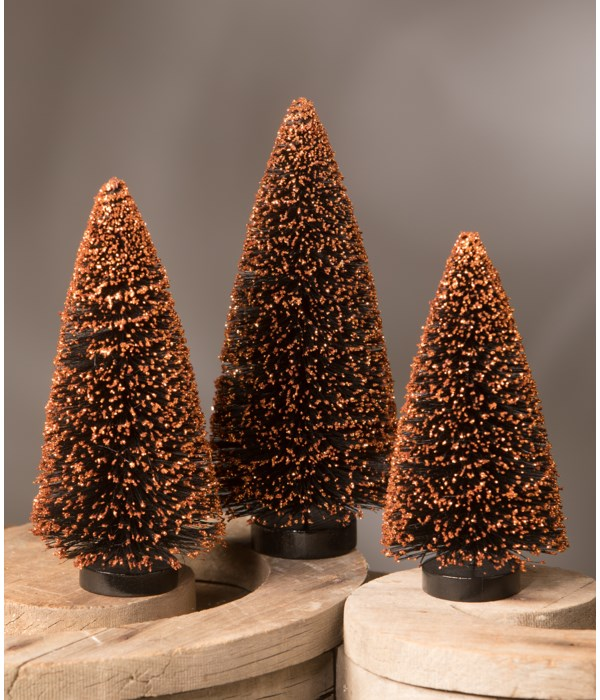 Black Bottle Brush Tree With Orange Glitter S3