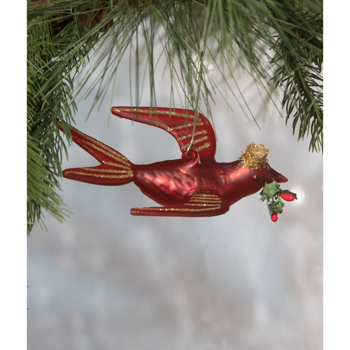 Red Bird With Crown Glass Ornament