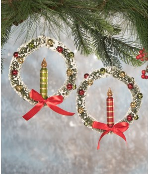 Traditional Candle in Wreath Ornament 2/A