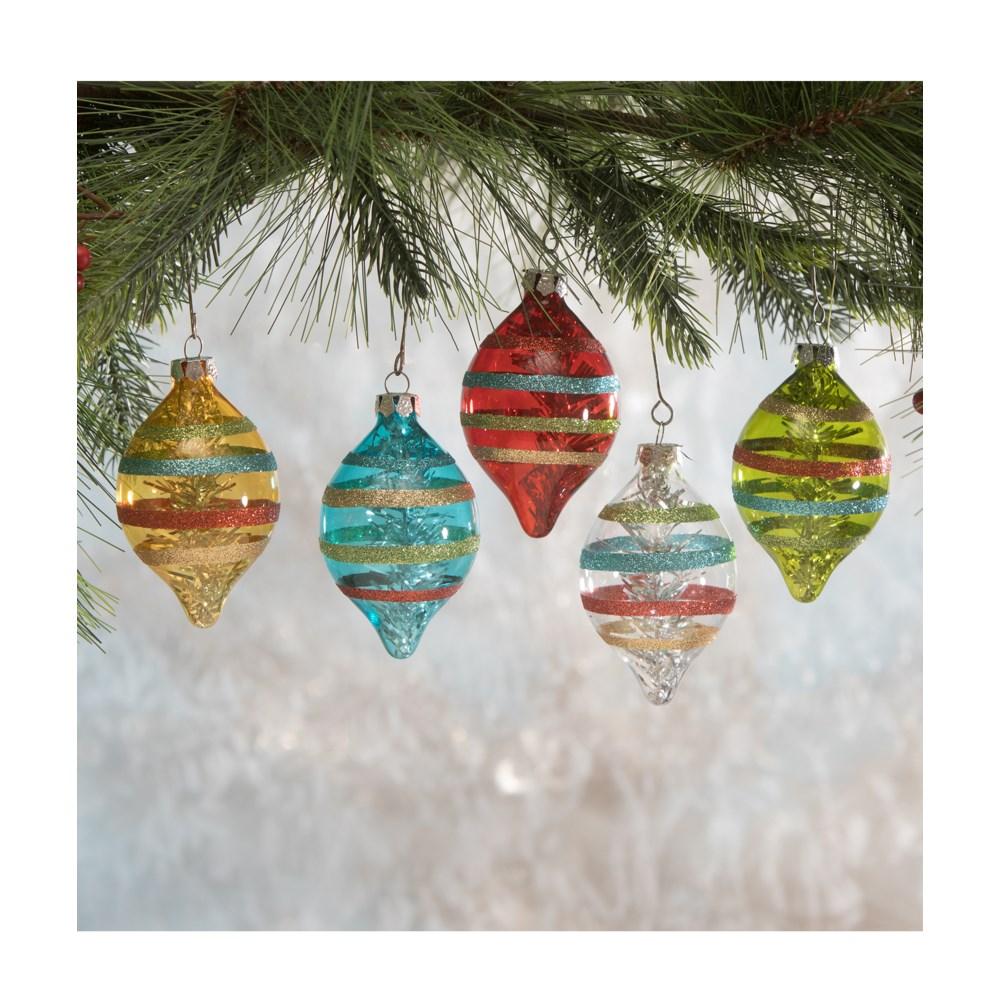 Merry & Bright Stripe Glass Ornament 5A