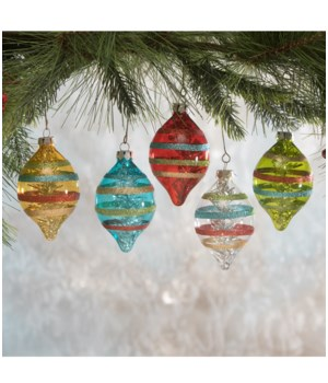 Merry & Bright Stripe Glass Ornament 5/A