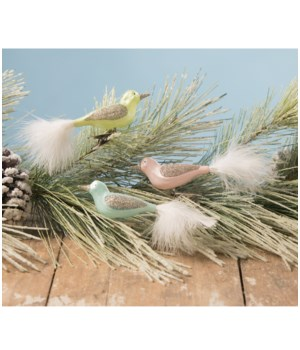 Pastel Bird Clip Ornament 3/A