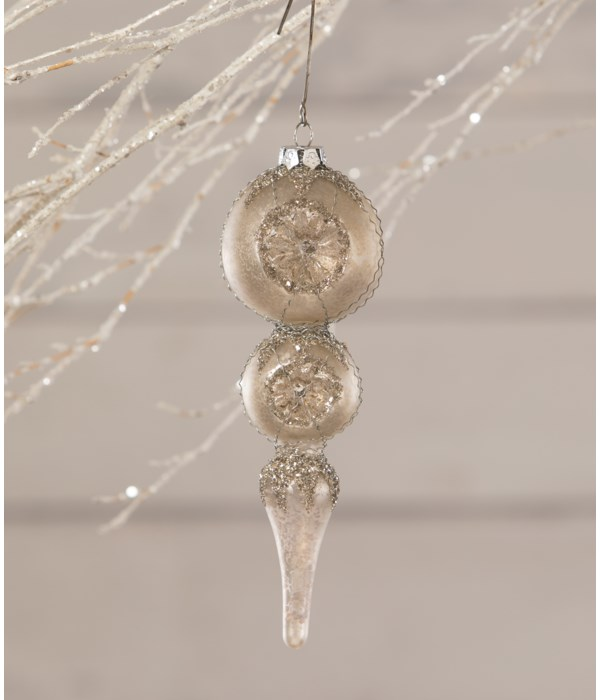 White Elegant Finial Indent Ornament