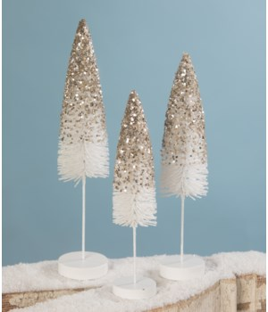 Platinum Glass Flocked Bottle Brush Trees S/3