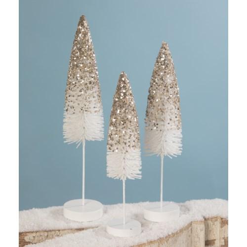 Platinum Glass Flocked Bottle Brush Trees S/3