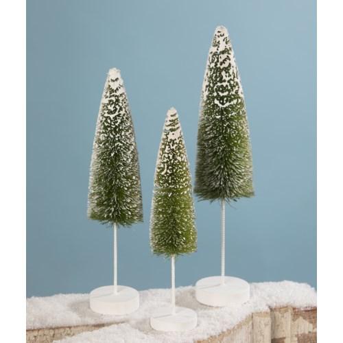 Snow Covered Green Bottle Brush Tree S3
