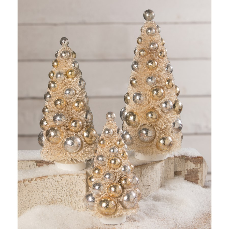 Silver & Gold Bottle Brush Trees S/3