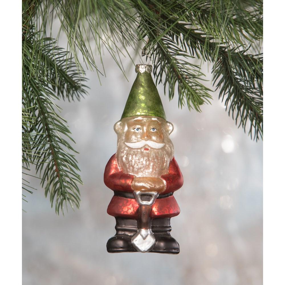 Christmas Gnome Glass Ornament