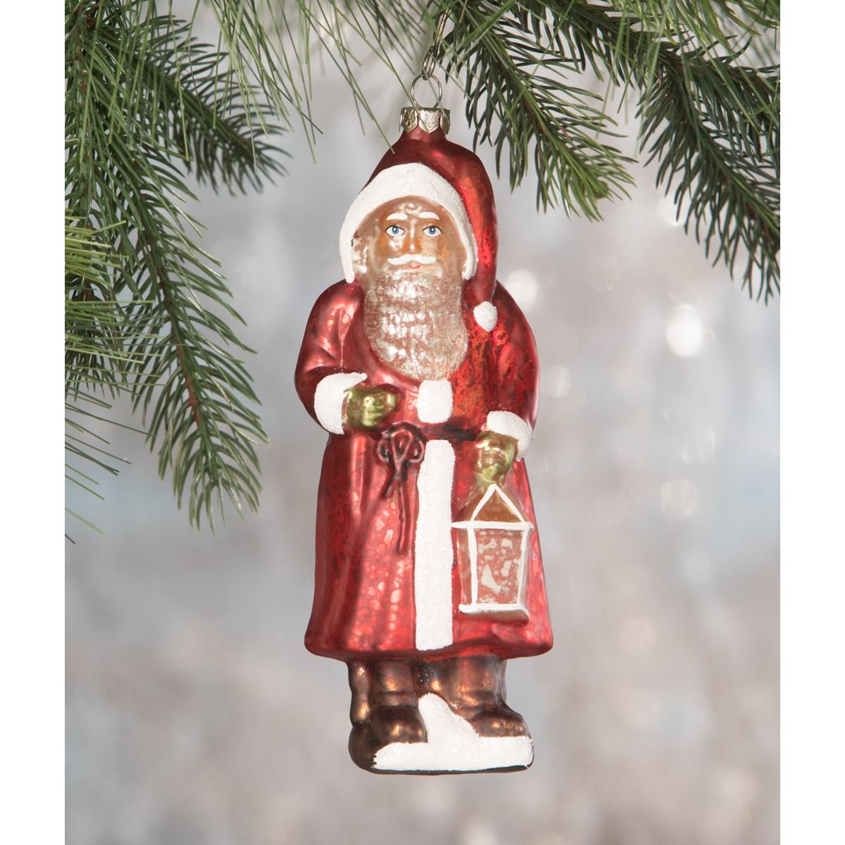 Red Robed Santa Glass Ornament