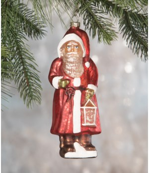 Red Robed Santa Glass Ornament