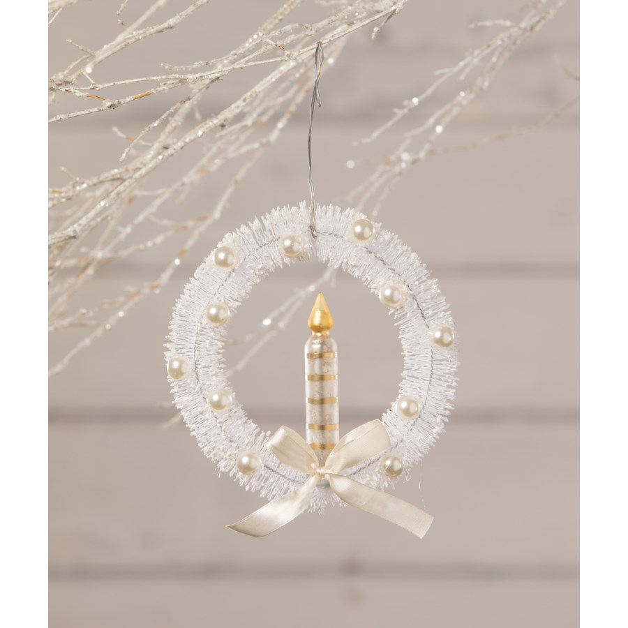 White Bottle Brush Wreath With Candle Ornament