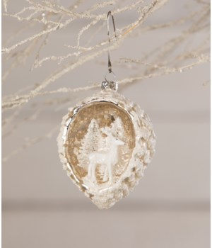 White Deer/ Pinecone Indent Ornament