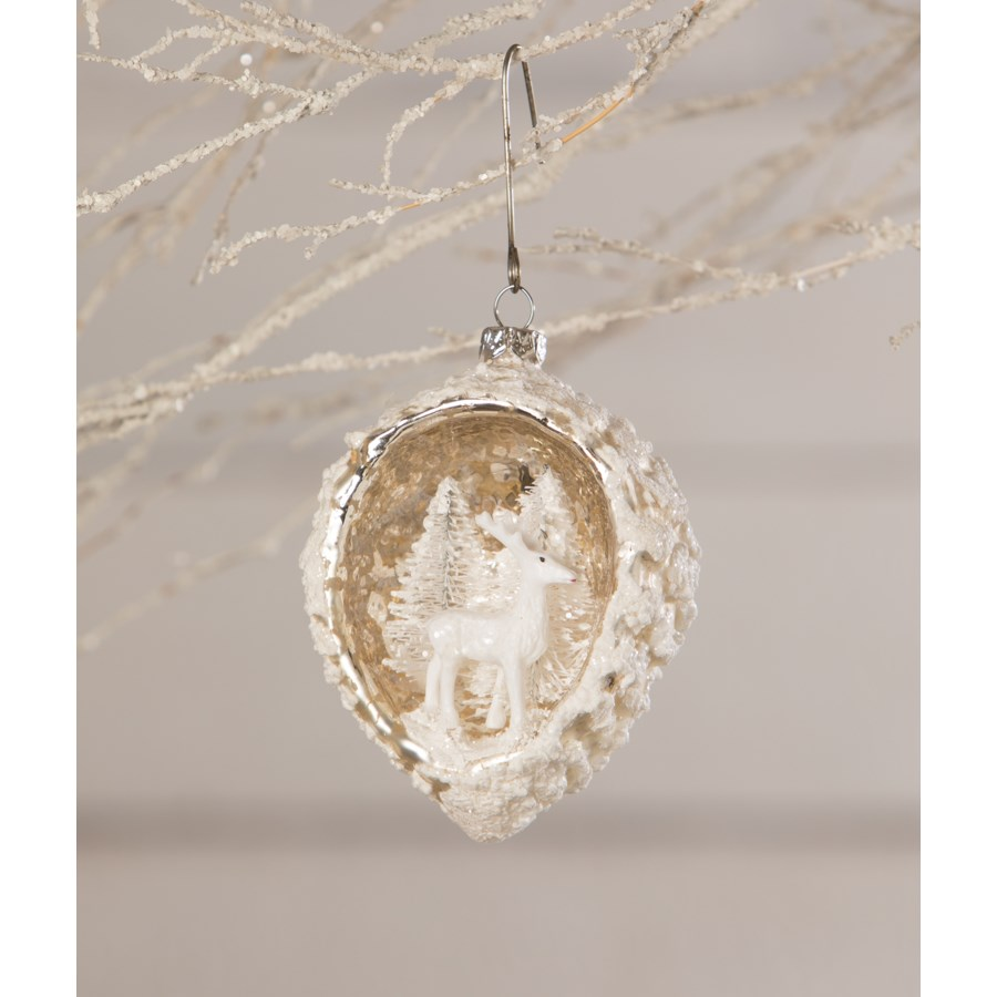 White Deer Pinecone Indent Ornament