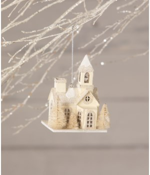 Little Platinum Putz Church Ornament
