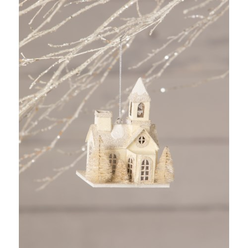 Little Platinum Putz Church Ornament