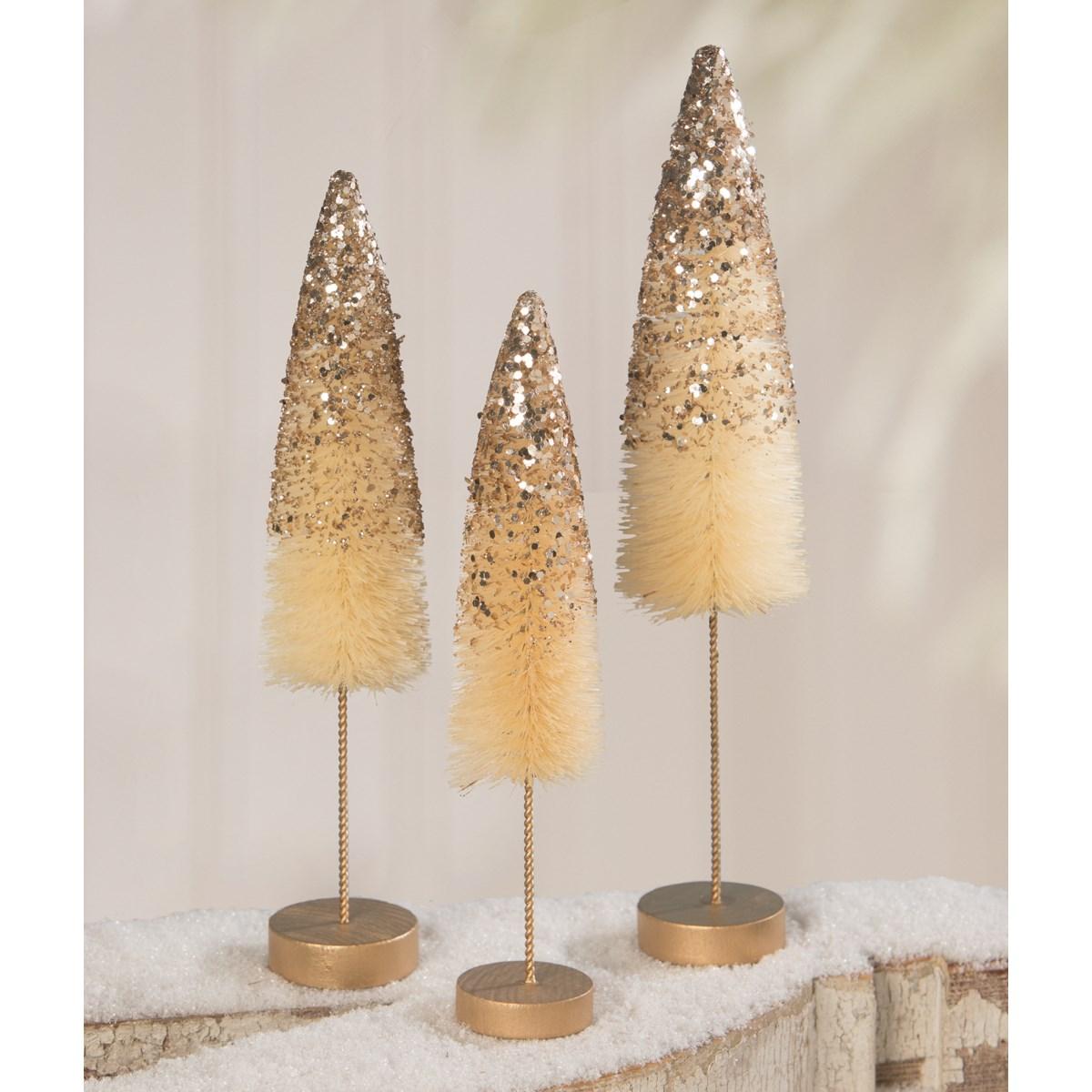 Peaceful Gold Glitter Bottle Brush Trees S3