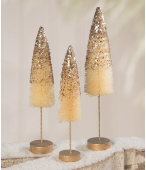 Peaceful Gold Glitter Bottle Brush Trees S/3